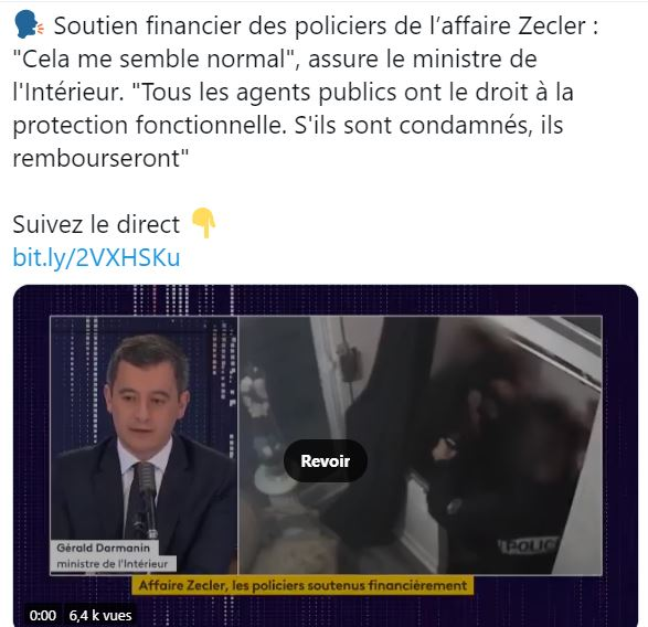 Protection fonctionnelle aux agresseurs de Michel Zecler : Darmanin ment en direct sur France Info